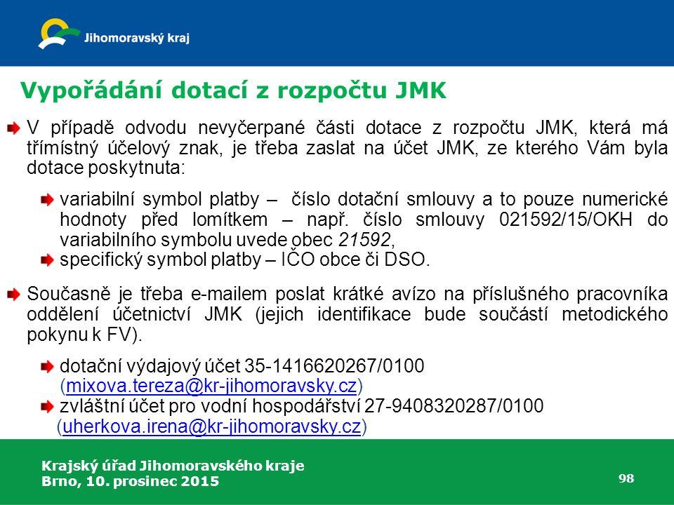 Krajský úřad Jihomoravského kraje Brno, 10. prosinec 2015 98 V případě odvodu nevyčerpané části dotace z rozpočtu JMK, která má třímístný účelový znak