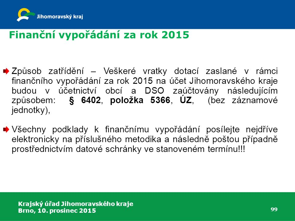Krajský úřad Jihomoravského kraje Brno, 10. prosinec 2015 99 Způsob zatřídění – Veškeré vratky dotací zaslané v rámci finančního vypořádání za rok 201