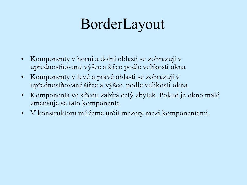 BorderLayout Komponenty v horní a dolní oblasti se zobrazují v upřednostňované výšce a šířce podle velikosti okna.