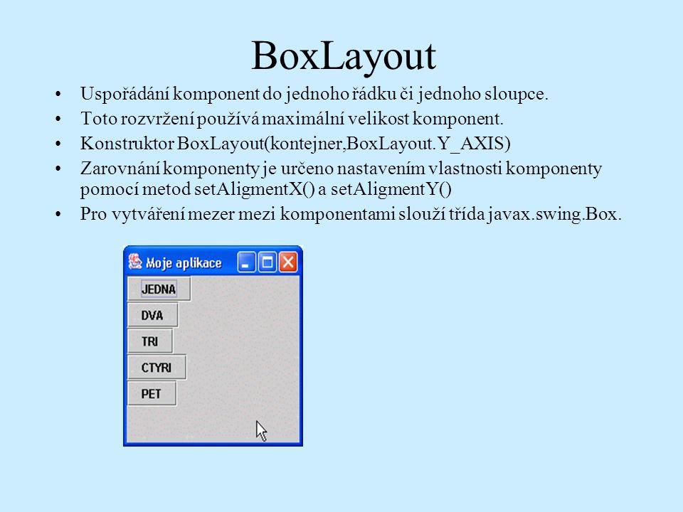 BoxLayout Uspořádání komponent do jednoho řádku či jednoho sloupce.