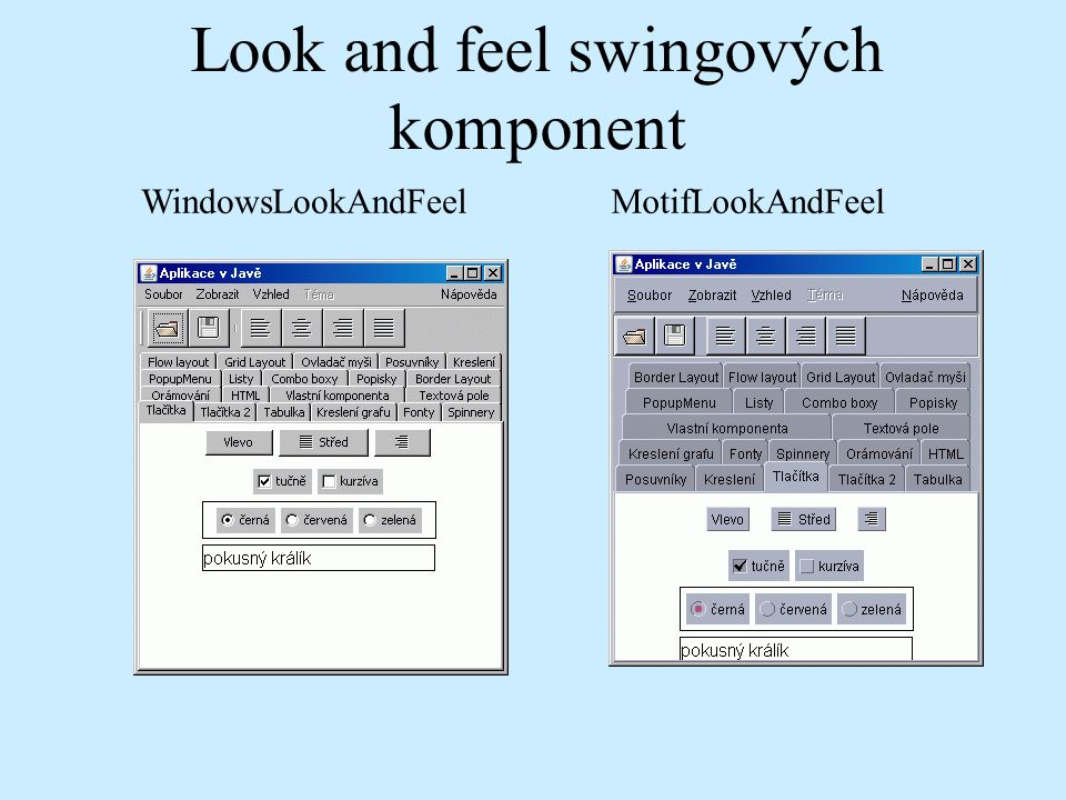 MotifLookAndFeelWindowsLookAndFeel Look and feel swingových komponent