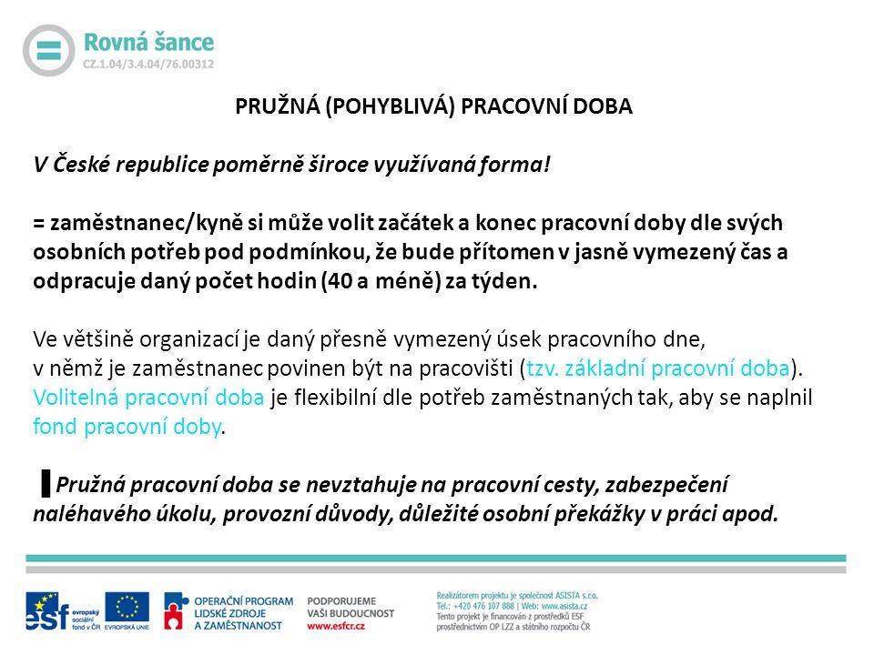 PRUŽNÁ (POHYBLIVÁ) PRACOVNÍ DOBA V České republice poměrně široce využívaná forma.