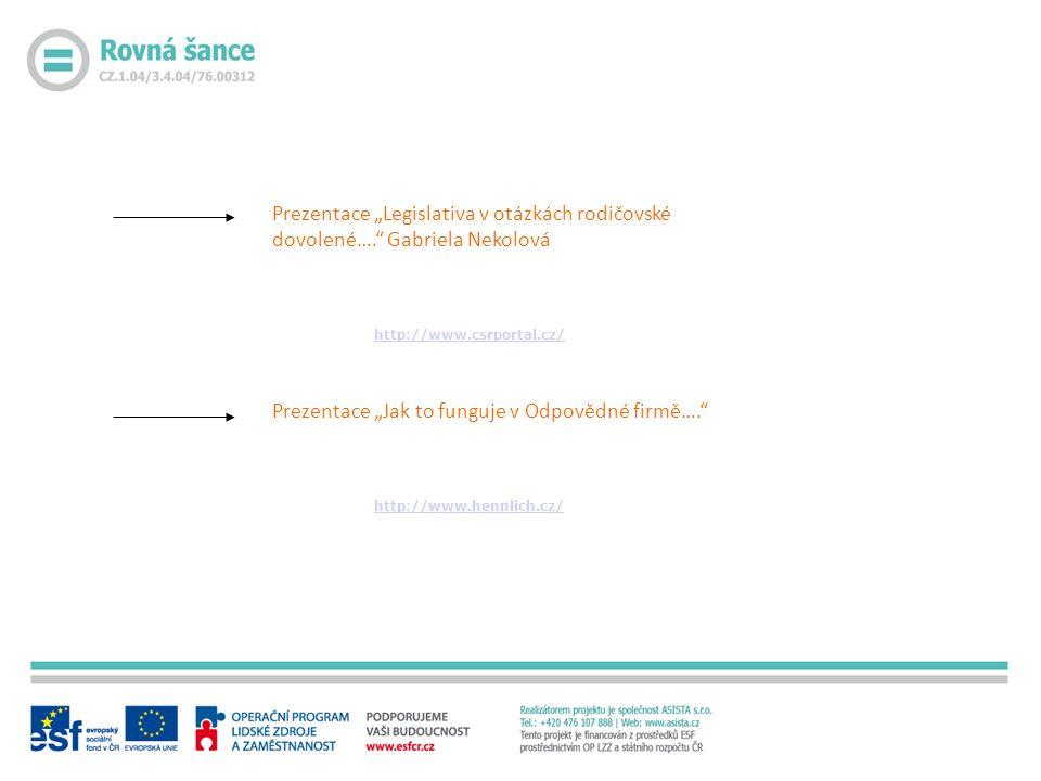 """Prezentace """"Legislativa v otázkách rodičovské dovolené…. Gabriela Nekolová http://www.csrportal.cz/ Prezentace """"Jak to funguje v Odpovědné firmě…. http://www.hennlich.cz/"""