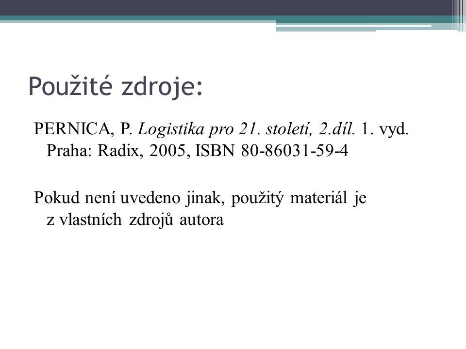 Použité zdroje: PERNICA, P. Logistika pro 21. století, 2.díl.