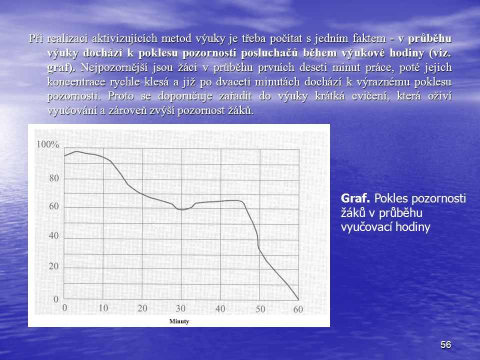 56 Při realizaci aktivizujících metod výuky je třeba počítat s jedním faktem - v průběhu výuky dochází k poklesu pozornosti posluchačů během výukové hodiny (viz.