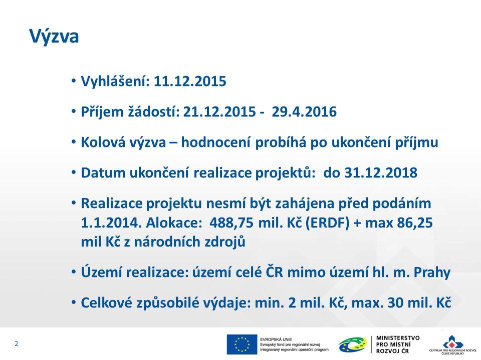 Vyhlášení: 11.12.2015 Příjem žádostí: 21.12.2015 - 29.4.2016 Kolová výzva – hodnocení probíhá po ukončení příjmu Datum ukončení realizace projektů: do 31.12.2018 Realizace projektu nesmí být zahájena před podáním 1.1.2014.