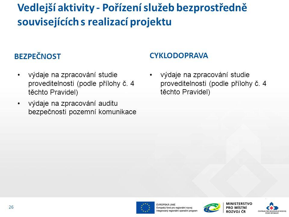 Vedlejší aktivity - Pořízení služeb bezprostředně souvisejících s realizací projektu 26 výdaje na zpracování studie proveditelnosti (podle přílohy č.