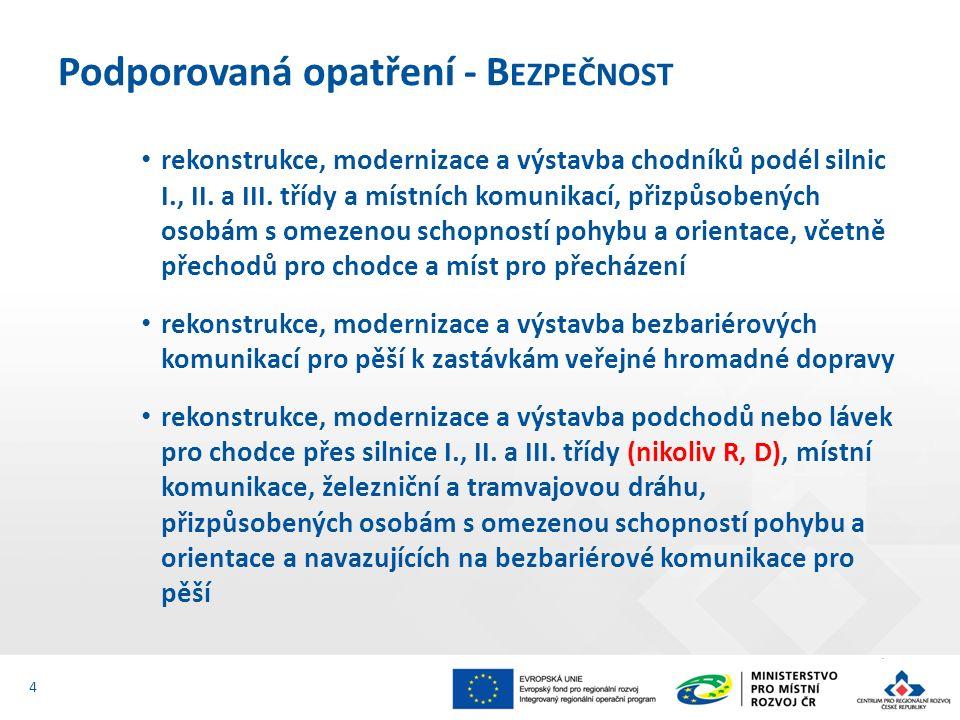 Hlavní aktivity - stavby 15 výdaje související s komunikací pro pěší, např.