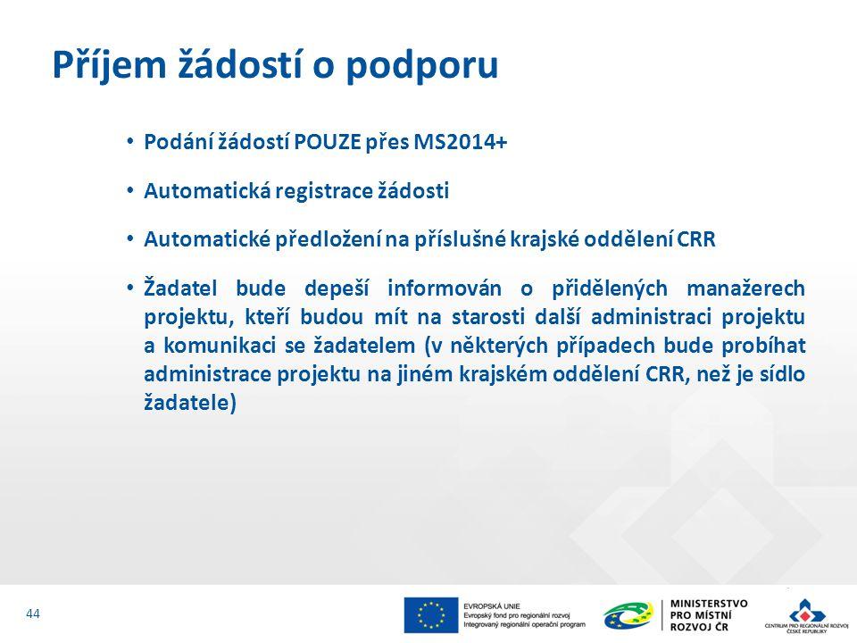 Podání žádostí POUZE přes MS2014+ Automatická registrace žádosti Automatické předložení na příslušné krajské oddělení CRR Žadatel bude depeší informován o přidělených manažerech projektu, kteří budou mít na starosti další administraci projektu a komunikaci se žadatelem (v některých případech bude probíhat administrace projektu na jiném krajském oddělení CRR, než je sídlo žadatele) Příjem žádostí o podporu 44