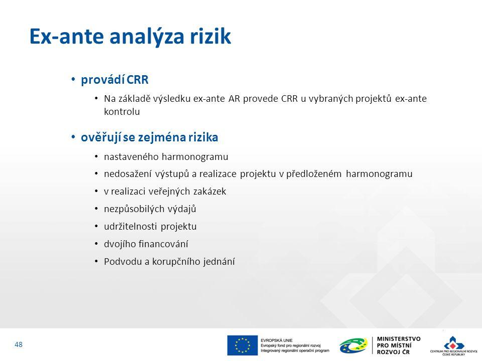 provádí CRR Na základě výsledku ex-ante AR provede CRR u vybraných projektů ex-ante kontrolu ověřují se zejména rizika nastaveného harmonogramu nedosažení výstupů a realizace projektu v předloženém harmonogramu v realizaci veřejných zakázek nezpůsobilých výdajů udržitelnosti projektu dvojího financování Podvodu a korupčního jednání Ex-ante analýza rizik 48