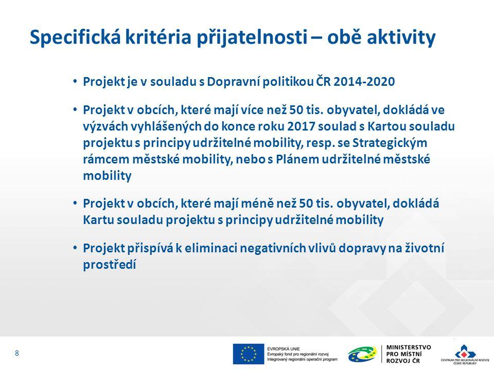 Projekt je v souladu s Dopravní politikou ČR 2014-2020 Projekt v obcích, které mají více než 50 tis.