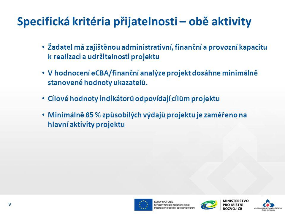 Žadatel má zajištěnou administrativní, finanční a provozní kapacitu k realizaci a udržitelnosti projektu V hodnocení eCBA/finanční analýze projekt dosáhne minimálně stanovené hodnoty ukazatelů.