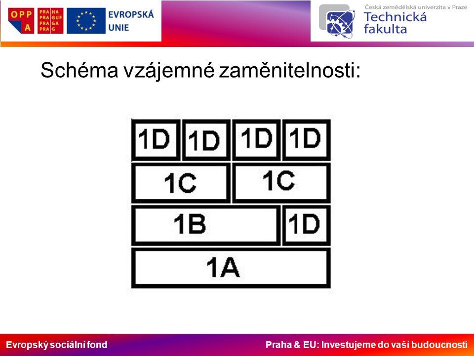 Evropský sociální fond Praha & EU: Investujeme do vaší budoucnosti Schéma vzájemné zaměnitelnosti: