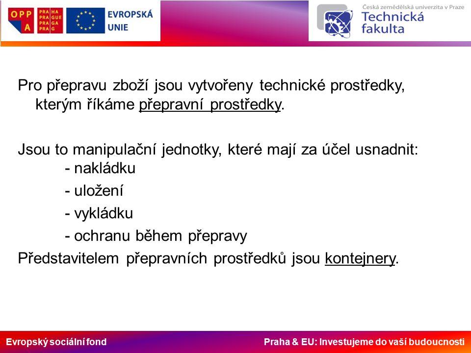 Evropský sociální fond Praha & EU: Investujeme do vaší budoucnosti Nepříznivé vlivy působící na náklad během přepravy v kontejnerech - pasivní vlivy – křehkost, lomivost - aktivní vlivy – hořlavost, výbušnost, jedovatost, citlivost na korozi, hydroskopičnost - klimatické namáhání – zmrznutí, přehřátí, poškození kontejnerovým potem - mechanické namáhání při manipulaci - mechanické namáhání při přepravě Smysl balení, ložení a fixace – snížení a vyloučení nepříznivých vlivů