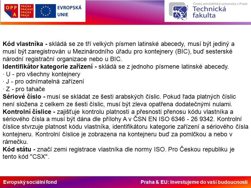 Evropský sociální fond Praha & EU: Investujeme do vaší budoucnosti Kód vlastníka - skládá se ze tří velkých písmen latinské abecedy, musí být jediný a musí být zaregistrován u Mezinárodního úřadu pro kontejnery (BIC), buď sesterské národní registrační organizace nebo u BIC.