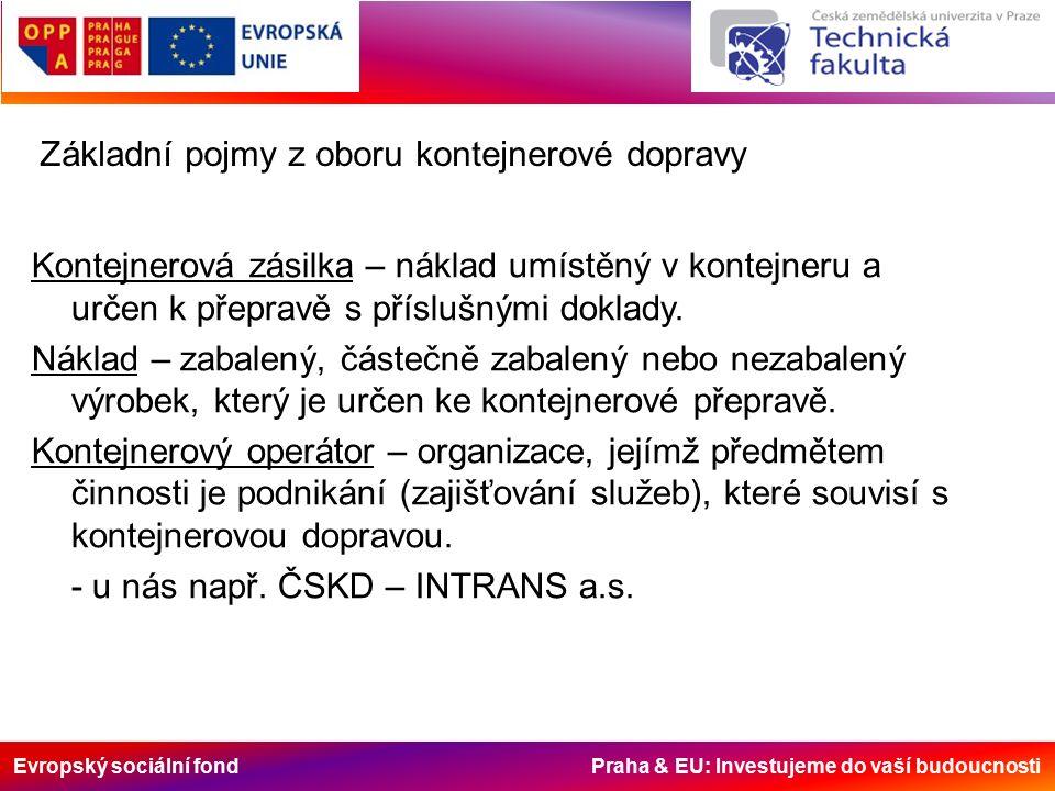 Evropský sociální fond Praha & EU: Investujeme do vaší budoucnosti Základní pojmy z oboru kontejnerové dopravy Kontejnerová zásilka – náklad umístěný