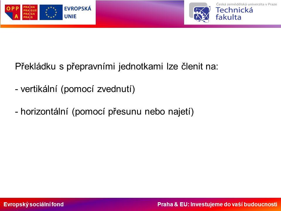 Evropský sociální fond Praha & EU: Investujeme do vaší budoucnosti Překládku s přepravními jednotkami lze členit na: - vertikální (pomocí zvednutí) - horizontální (pomocí přesunu nebo najetí)