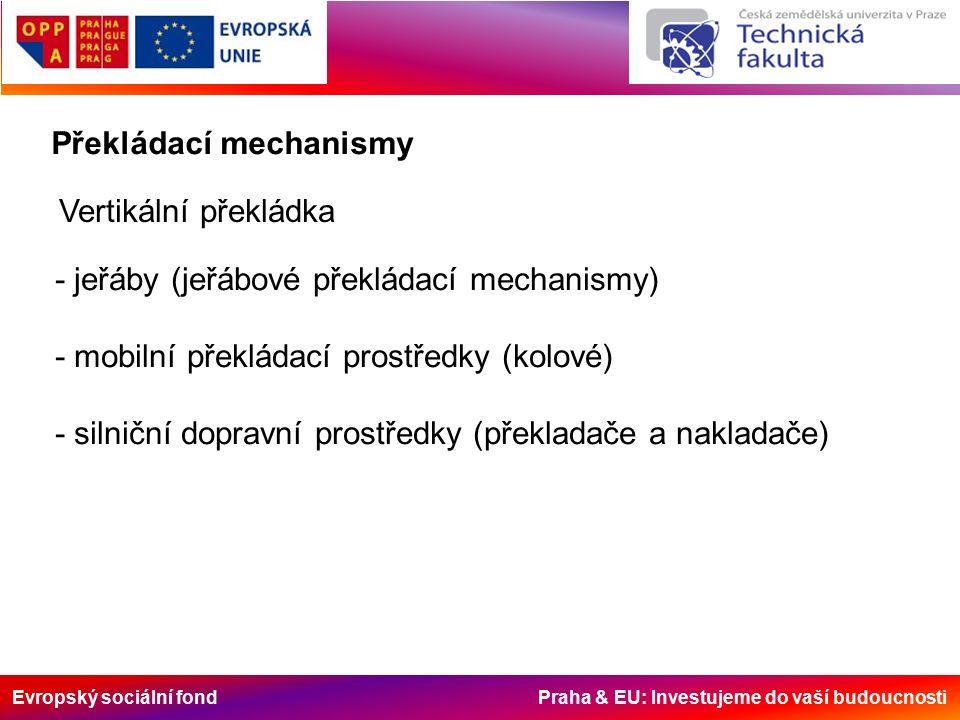 Evropský sociální fond Praha & EU: Investujeme do vaší budoucnosti Překládací mechanismy Vertikální překládka - jeřáby (jeřábové překládací mechanismy) - mobilní překládací prostředky (kolové) - silniční dopravní prostředky (překladače a nakladače)