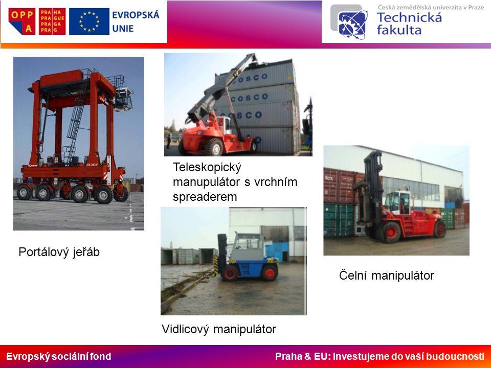 Evropský sociální fond Praha & EU: Investujeme do vaší budoucnosti Portálový jeřáb Teleskopický manupulátor s vrchním spreaderem Čelní manipulátor Vid