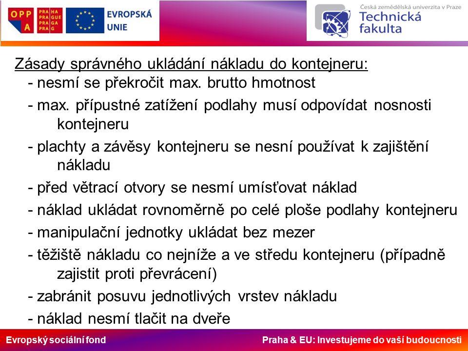 Evropský sociální fond Praha & EU: Investujeme do vaší budoucnosti Zásady správného ukládání nákladu do kontejneru: - nesmí se překročit max. brutto h