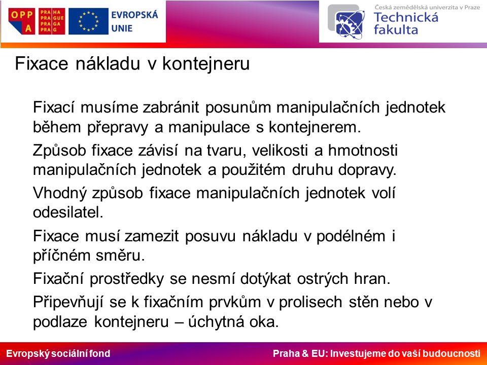 Evropský sociální fond Praha & EU: Investujeme do vaší budoucnosti Fixace nákladu v kontejneru Fixací musíme zabránit posunům manipulačních jednotek během přepravy a manipulace s kontejnerem.