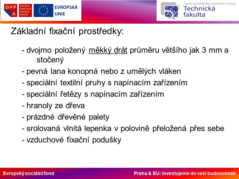 Evropský sociální fond Praha & EU: Investujeme do vaší budoucnosti Základní fixační prostředky: - dvojmo položený měkký drát průměru většího jak 3 mm