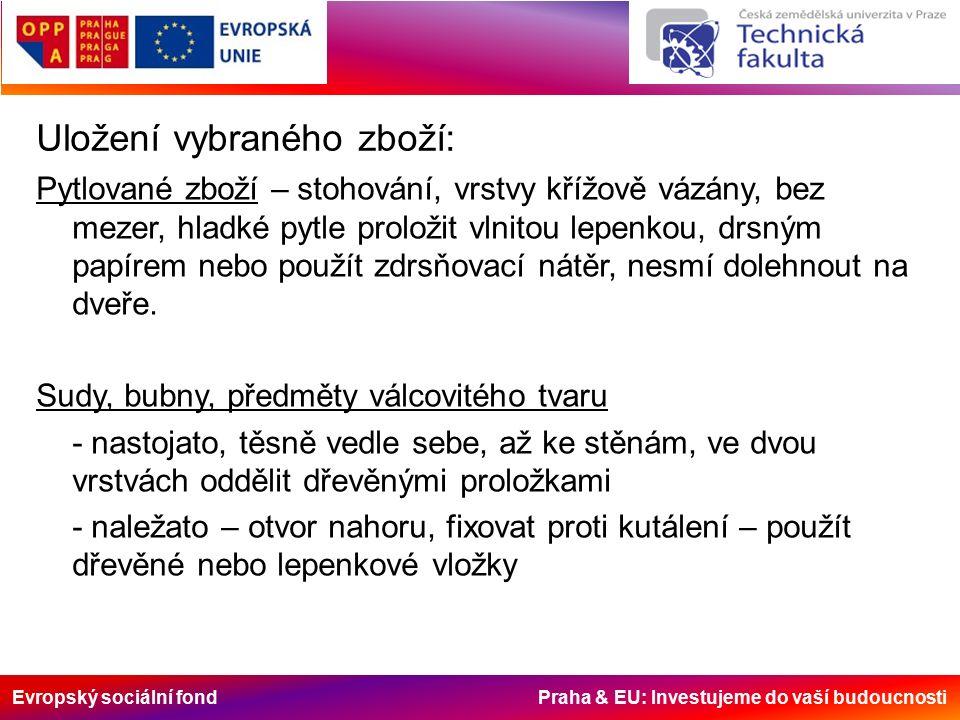 Evropský sociální fond Praha & EU: Investujeme do vaší budoucnosti Uložení vybraného zboží: Pytlované zboží – stohování, vrstvy křížově vázány, bez me