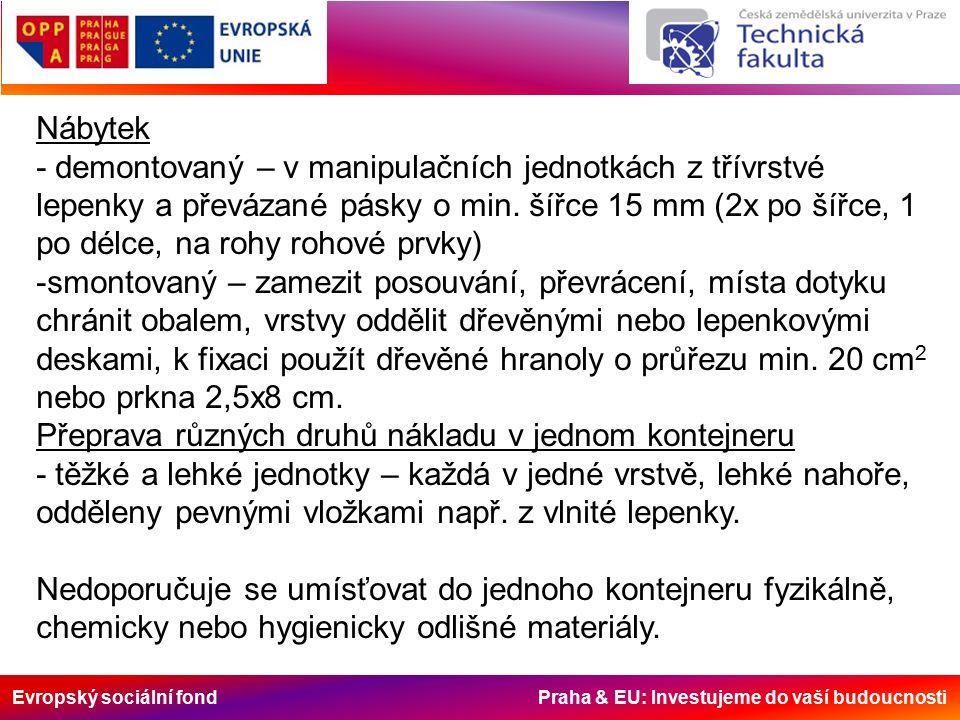 Evropský sociální fond Praha & EU: Investujeme do vaší budoucnosti Nábytek - demontovaný – v manipulačních jednotkách z třívrstvé lepenky a převázané pásky o min.
