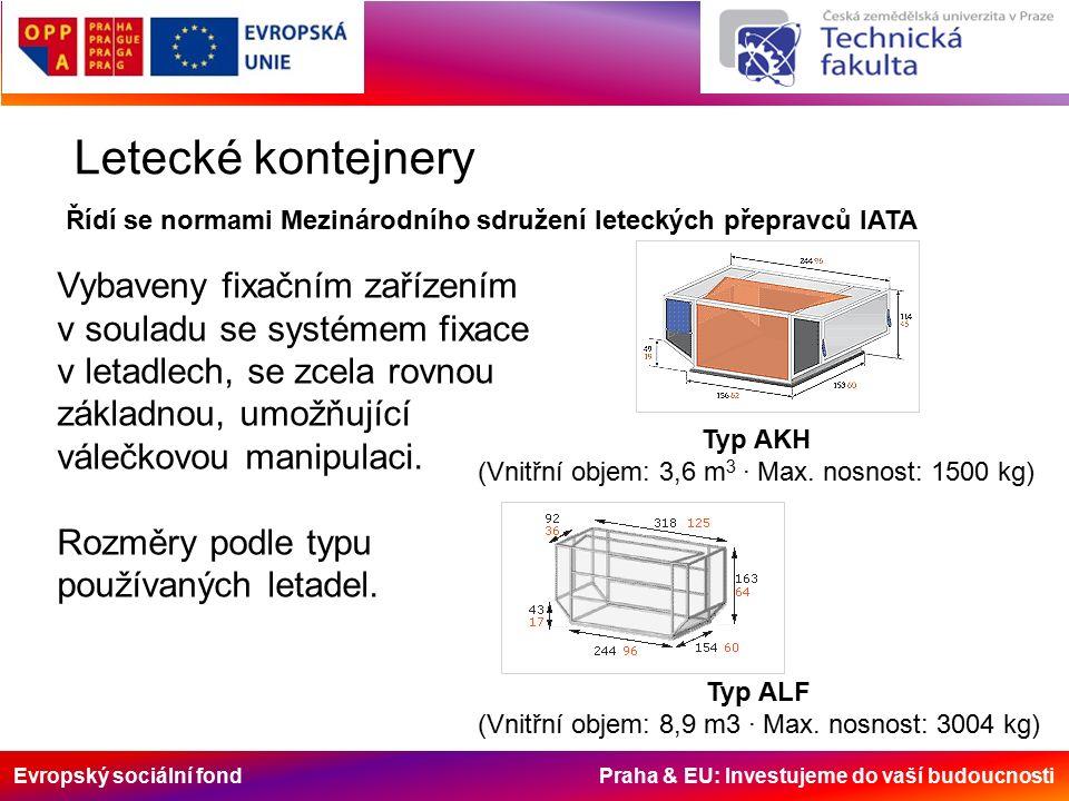 Evropský sociální fond Praha & EU: Investujeme do vaší budoucnosti Letecké kontejnery Řídí se normami Mezinárodního sdružení leteckých přepravců IATA Vybaveny fixačním zařízením v souladu se systémem fixace v letadlech, se zcela rovnou základnou, umožňující válečkovou manipulaci.
