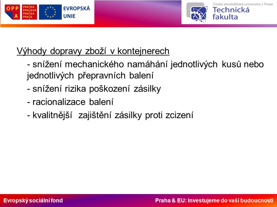 Evropský sociální fond Praha & EU: Investujeme do vaší budoucnosti Výhody dopravy zboží v kontejnerech - snížení mechanického namáhání jednotlivých kusů nebo jednotlivých přepravních balení - snížení rizika poškození zásilky - racionalizace balení - kvalitnější zajištění zásilky proti zcizení
