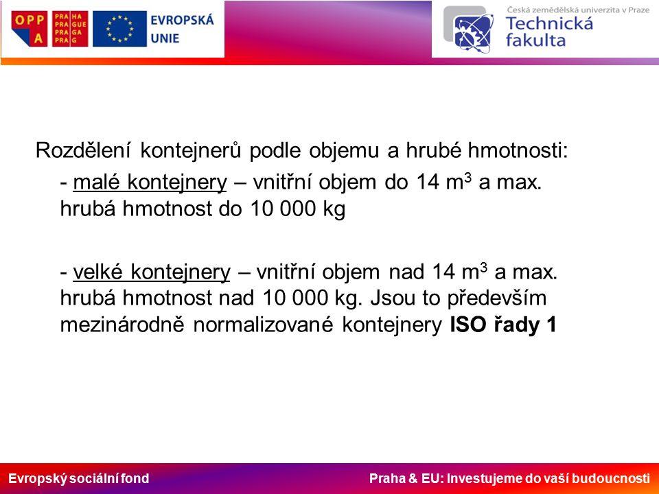 Evropský sociální fond Praha & EU: Investujeme do vaší budoucnosti Druhy kontejnerů: - kontejner pro všeobecné použití (univerzální) (jedno i třídveřový) - kontejner s otevřeným vrchem (open - top), - plošinový kontejner se sklopnými čely (flat) - plošinový kontejner bez čel (platform) - nádržkový kontejner (tank) - chladící kontejner - izotermický kontejner - kontejner pro suchý sypký materiál - uhelný kontejner
