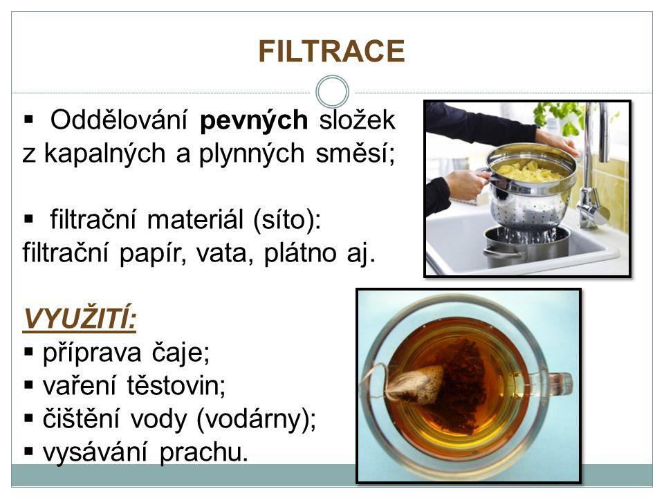 FILTRACE  Oddělování pevných složek z kapalných a plynných směsí;  filtrační materiál (síto): filtrační papír, vata, plátno aj.
