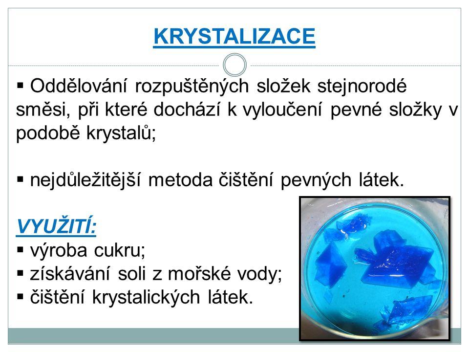 KRYSTALIZACE  Oddělování rozpuštěných složek stejnorodé směsi, při které dochází k vyloučení pevné složky v podobě krystalů;  nejdůležitější metoda čištění pevných látek.