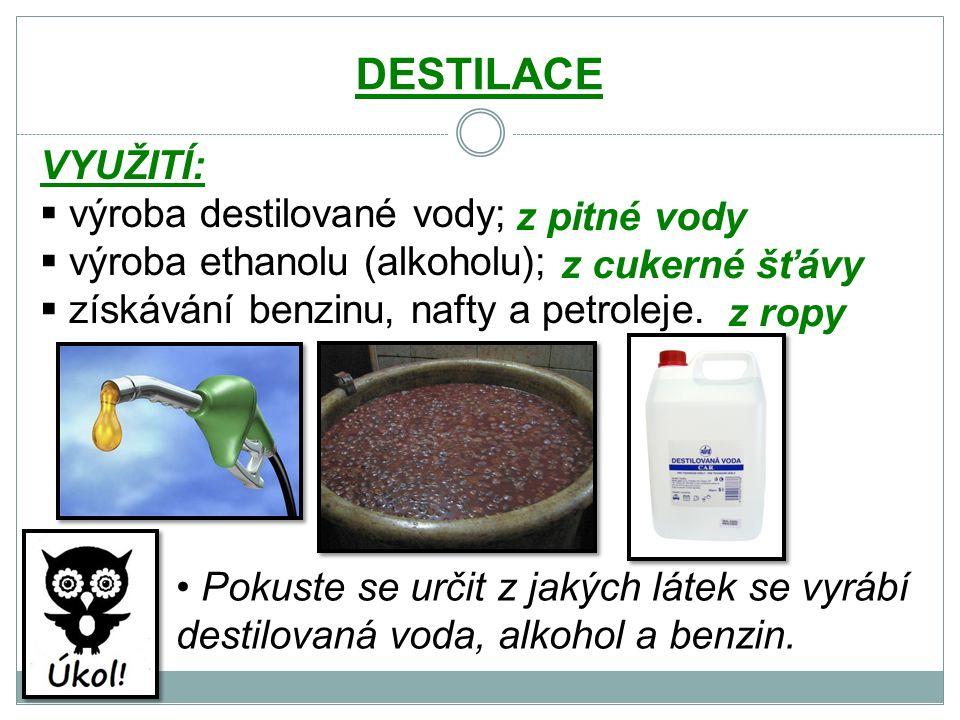 DESTILACE VYUŽITÍ:  výroba destilované vody;  výroba ethanolu (alkoholu);  získávání benzinu, nafty a petroleje.