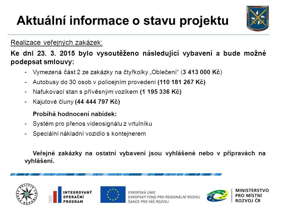 Aktuální informace o stavu projektu 20.9.2016 10 Realizace veřejných zakázek: Ke dni 23.