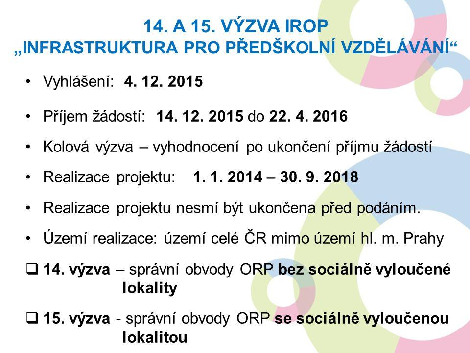 Vyhlášení: 4. 12. 2015 Příjem žádostí: 14. 12. 2015 do 22.