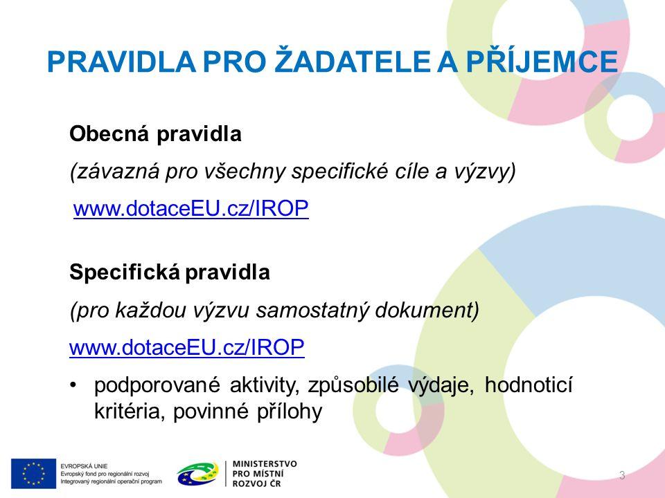 PRAVIDLA PRO ŽADATELE A PŘÍJEMCE Obecná pravidla (závazná pro všechny specifické cíle a výzvy) www.dotaceEU.cz/IROP Specifická pravidla (pro každou výzvu samostatný dokument) www.dotaceEU.cz/IROP podporované aktivity, způsobilé výdaje, hodnoticí kritéria, povinné přílohy 3