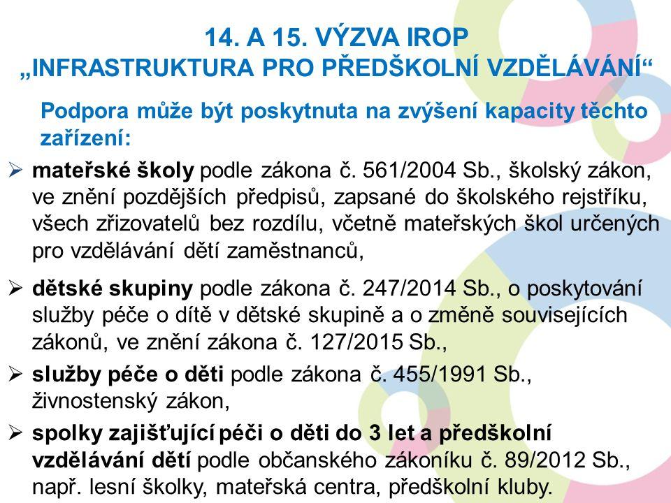 Podpora může být poskytnuta na zvýšení kapacity těchto zařízení:  mateřské školy podle zákona č.