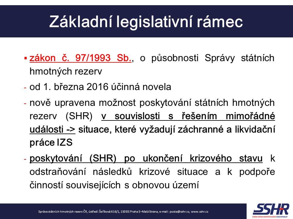 Základní legislativní rámec Správa státních hmotných rezerv ČR, ústředí: Šeříková 616/1, 150 85 Praha 5–Malá Strana, e-mail: posta@sshr.cz, www.sshr.c
