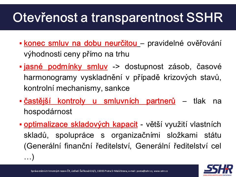 Otevřenost a transparentnost SSHR Správa státních hmotných rezerv ČR, ústředí: Šeříková 616/1, 150 85 Praha 5–Malá Strana, e-mail: posta@sshr.cz, www.