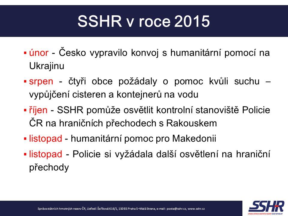 Nouzové zásoby Správa státních hmotných rezerv ČR, ústředí: Šeříková 616/1, 150 85 Praha 5–Malá Strana, e-mail: posta@sshr.cz, www.sshr.cz … výše zásob odpovídá cca 97 dnům průměrných denních čistých dovozů (referenční rok 2014) -> dojde k přepočtu na rok 2015 a zohlednění vyšších dovozů -> pokles počtu dnů hlavní smluvní partneři ČEPRO a MERO