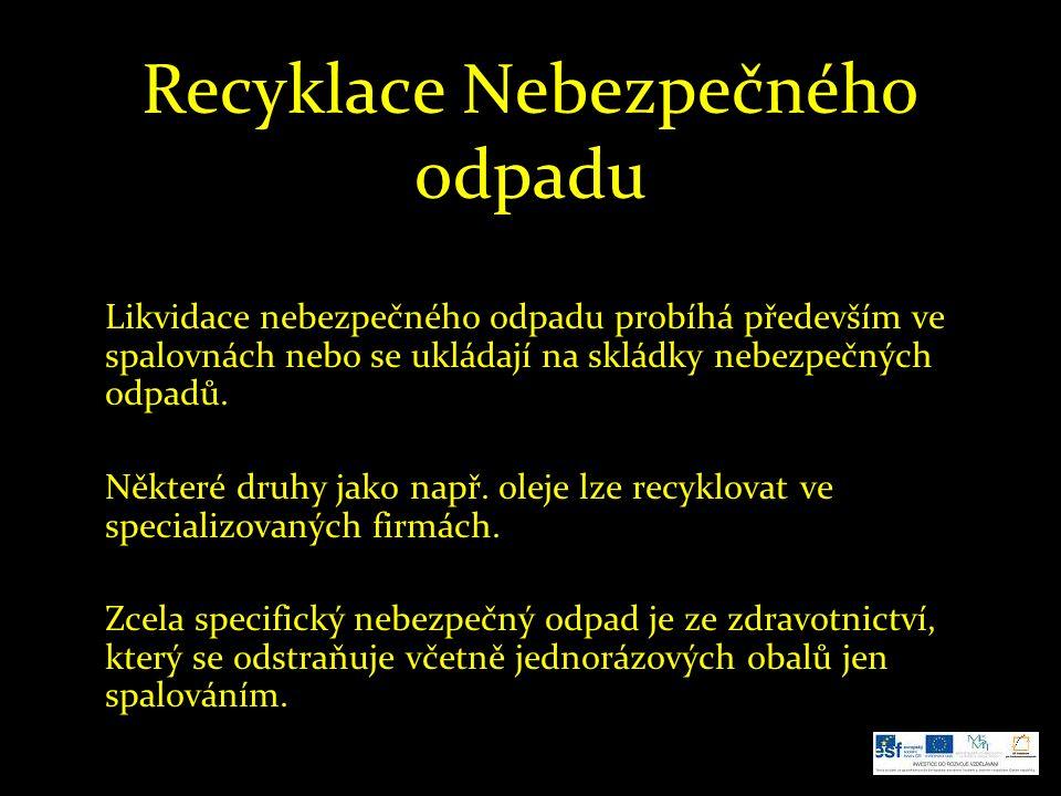 Recyklace Nebezpečného odpadu Likvidace nebezpečného odpadu probíhá především ve spalovnách nebo se ukládají na skládky nebezpečných odpadů.
