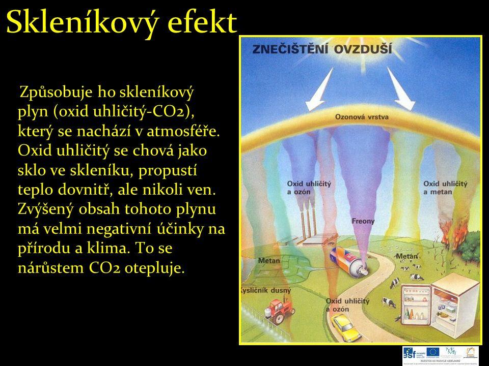Skleníkový efekt Způsobuje ho skleníkový plyn (oxid uhličitý-CO2), který se nachází v atmosféře. Oxid uhličitý se chová jako sklo ve skleníku, propust