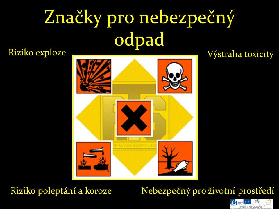 Značky pro nebezpečný odpad Nebezpečný pro životní prostředíRiziko poleptání a koroze Výstraha toxicity Riziko exploze
