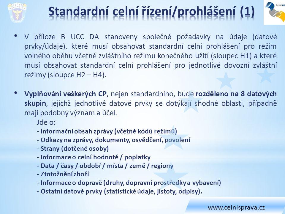 V příloze B UCC DA stanoveny společné požadavky na údaje (datové prvky/údaje), které musí obsahovat standardní celní prohlášení pro režim volného oběhu včetně zvláštního režimu konečného užití (sloupec H1) a které musí obsahovat standardní celní prohlášení pro jednotlivé dovozní zvláštní režimy (sloupce H2 – H4).