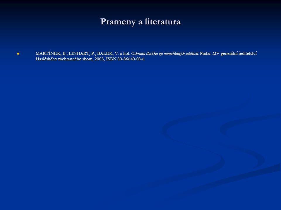 Prameny a literatura MARTÍNEK, B.; LINHART, P.; BALEK, V. a kol. Ochrana člověka za mimořádných událostí. Praha: MV-generální ředitelství Hasičského z