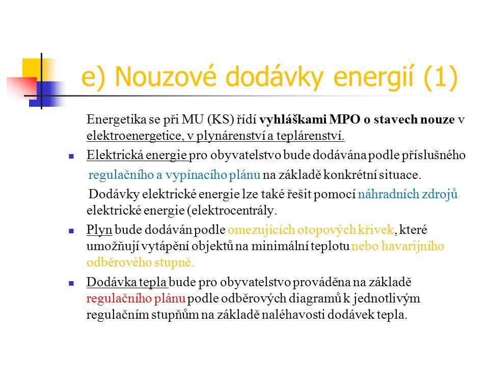 e) Nouzové dodávky energií (1) Energetika se při MU (KS) řídí vyhláškami MPO o stavech nouze v elektroenergetice, v plynárenství a teplárenství.