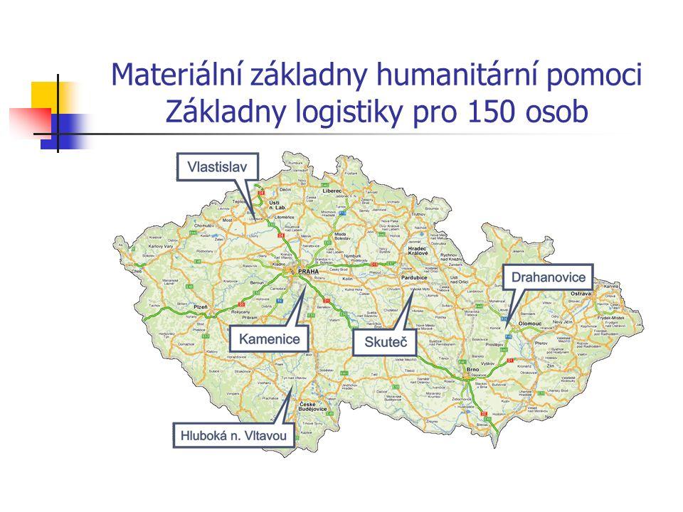 Materiální základny humanitární pomoci Základny logistiky pro 150 osob
