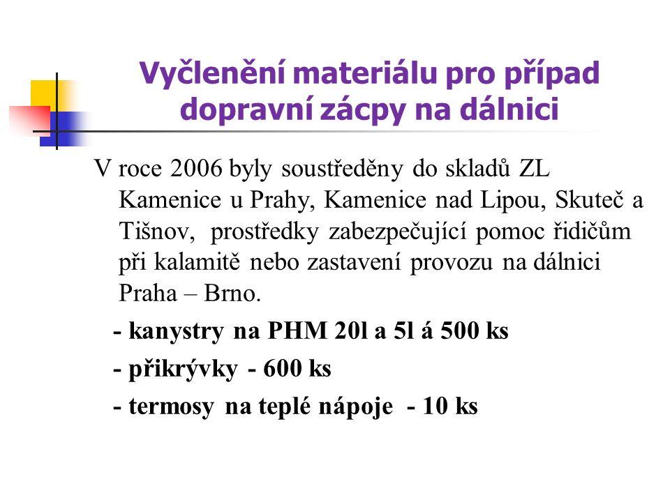 Vyčlenění materiálu pro případ dopravní zácpy na dálnici V roce 2006 byly soustředěny do skladů ZL Kamenice u Prahy, Kamenice nad Lipou, Skuteč a Tišnov, prostředky zabezpečující pomoc řidičům při kalamitě nebo zastavení provozu na dálnici Praha – Brno.