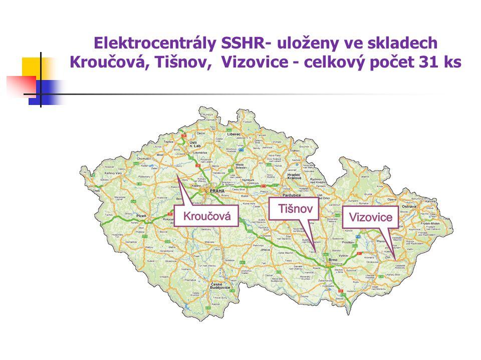 Elektrocentrály SSHR- uloženy ve skladech Kroučová, Tišnov, Vizovice - celkový počet 31 ks